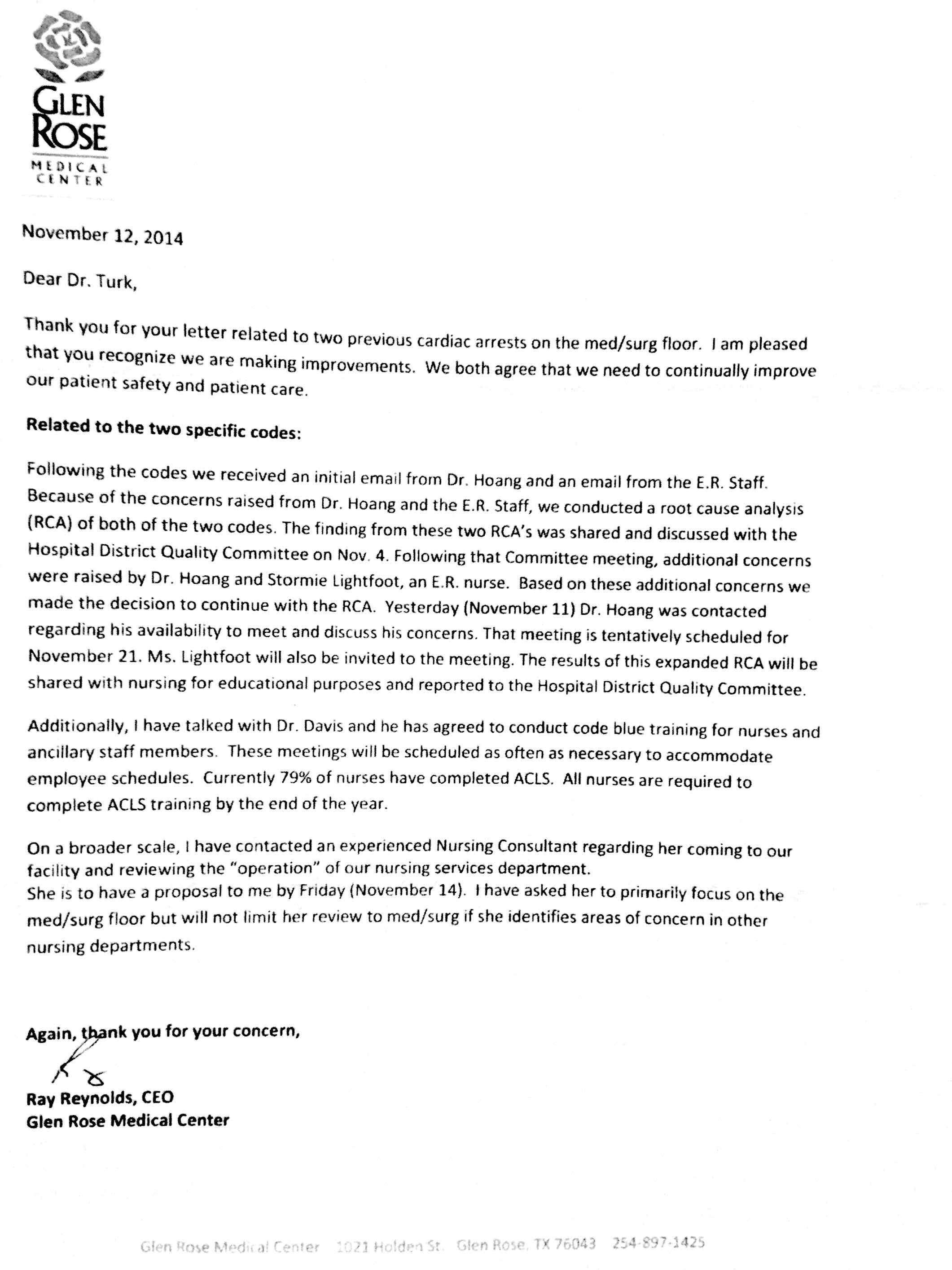 Critical safety concerns by turks about glen rose medical center 11 12 2014 jay turk md received a letter from ray reynolds in regards to the letter that jay wrote on november 7 2014 concerning the 2 codes on the xflitez Gallery